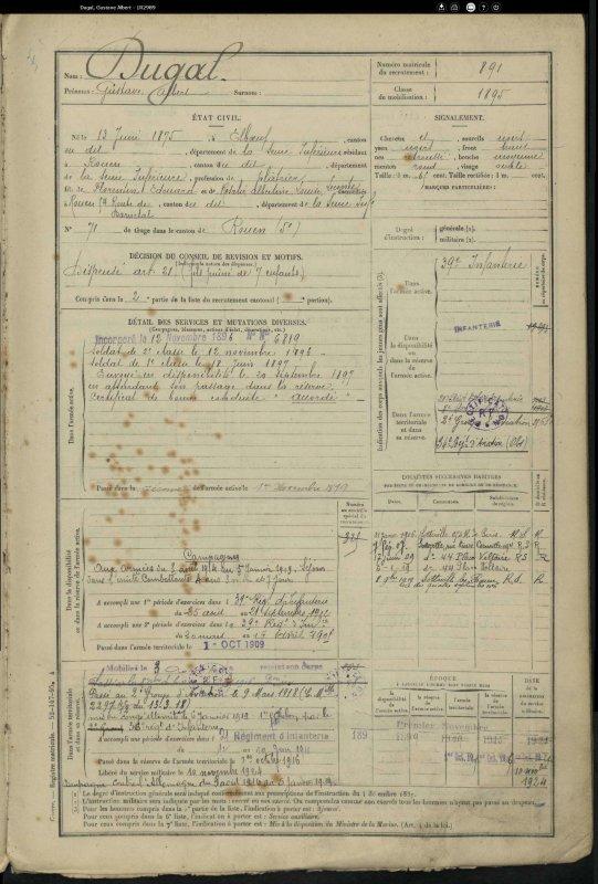 DUGAL GUSTAVE ALBERT WW1 (COUSIN)