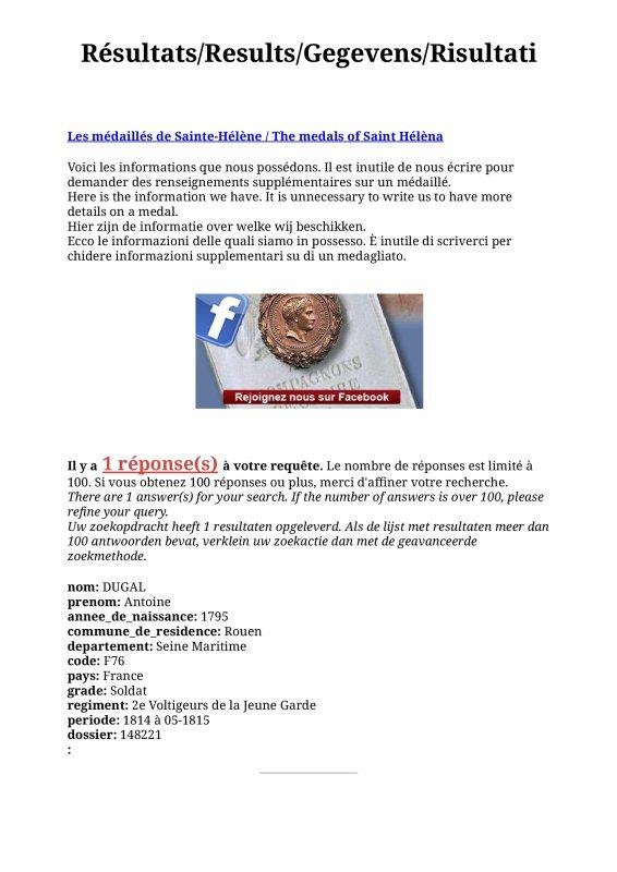 DUGAL ANTOINE: MEDAILLE DE SAINTE-HELENE (COUSIN)