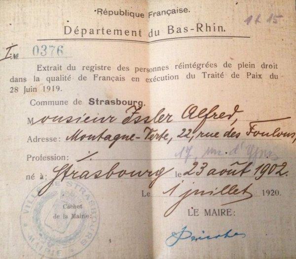 RENTREE REINTEGRATION EN QUALITE DE FRANCAIS D'UN ALSACIEN 1920