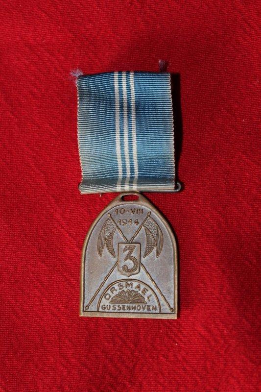RENTREE MEDAILLE BELGE ORSMAEL GUSSENHOVEN 3ème LANCIER 1914.