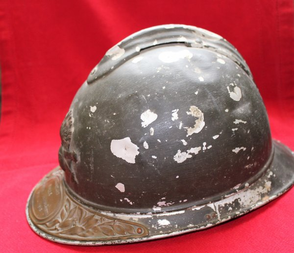 RENTREE CASQUE ADRIAN ALU OFFICIER (1) ARTILLERIE WW.1.