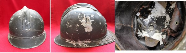RENTREE CASQUE ADRIAN ALU OFFICIER (2) ARTILLERIE WW.1.