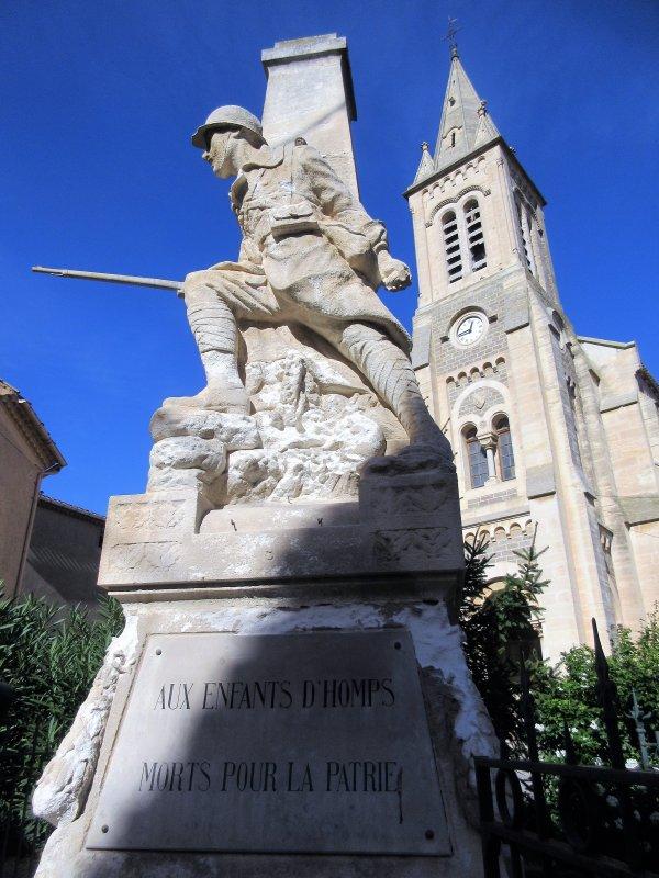 MONUMENT AUX MORTS AUDE, HOMPS ET MARCORIGNAN.