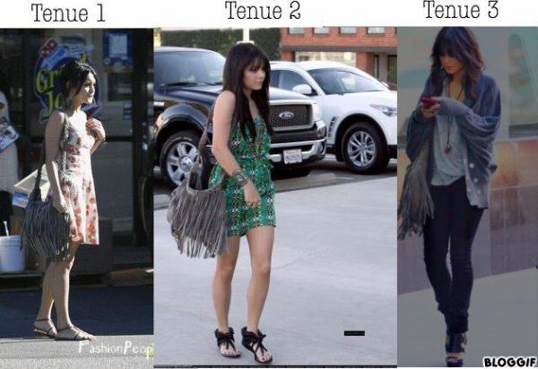 Voilà 3 tenues que Vanessa à porté en 2009 - 2010. Le sac à frange gris est le point commun à chacune de ses tenues. C'est un TOP pour chaque tenue qu'elle porte ici.