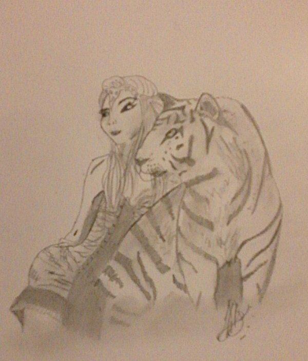 Femme avec Tigre