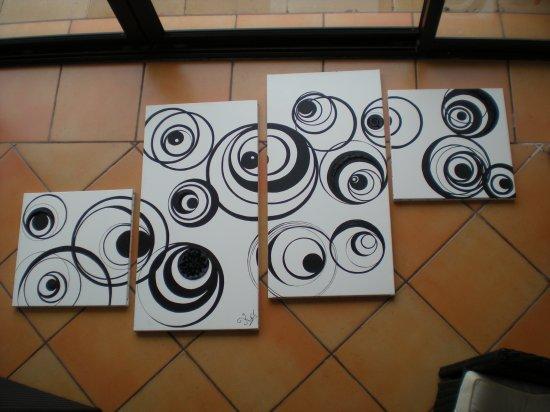 TOile abstraite nOir & blanc pOur une Amie =)
