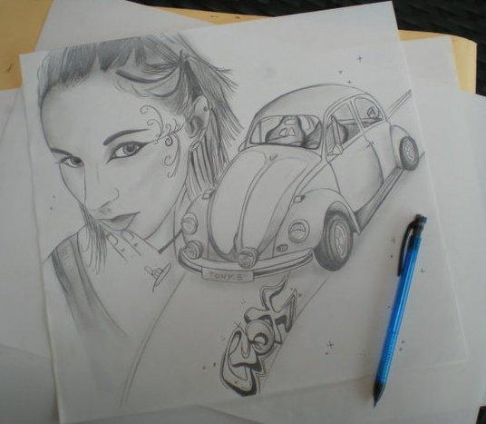 """ti"""" dessin de ca voiture que j""""ai fait pour mOn ti"""" cOeur d""""Amour <3"""