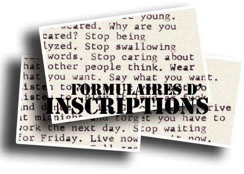 Formulaires d'inscriptions