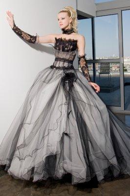 Robe de mariee noir et gris