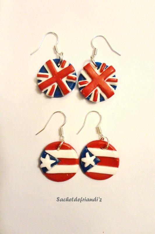 Boucles d'oreilles drapeaux anglais et américain ( Commande spéciale !! )