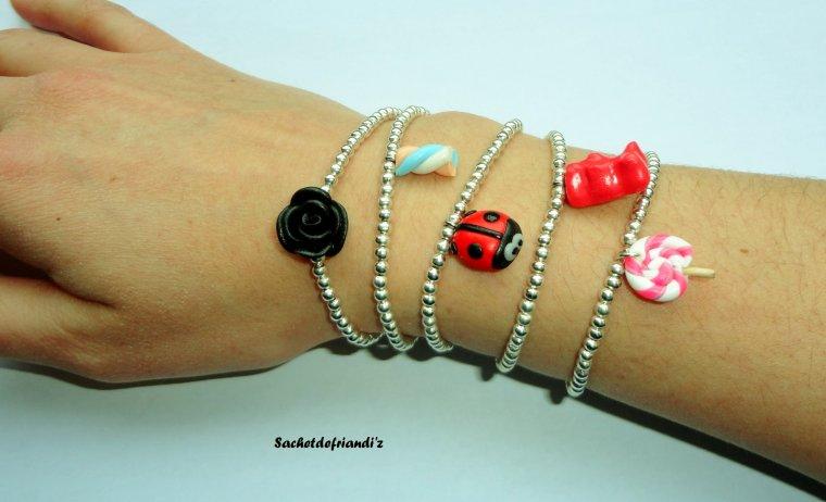 Bracelets perles + breloque Fimo élastiques