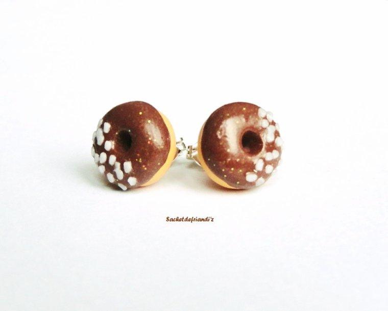 Puces d'oreilles donuts chocolat