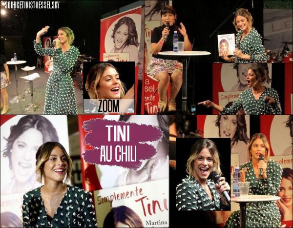 """03/11/14 Martina Stoessel était présente au Chili, pour faire la promo de son livre """"Simplemente Tini"""" Elle portait une robe verte très jolie,mais pas pour tout les goûts. Sa coupe est assez banale mais jolie."""