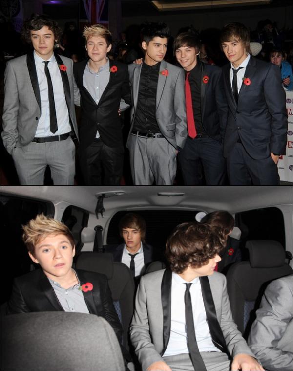 .Lundi 8 Novembre : Les One Direction était présent aux Pride of Britain Awards..