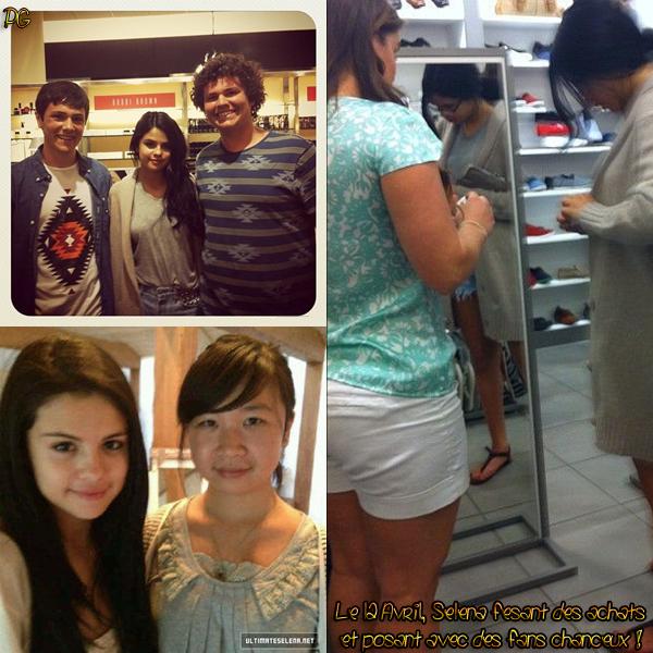12 Avril 2012 ; Selena fesant des achats et posant avec des fans + Affiche du parfum de Sel / Candids + Affiches