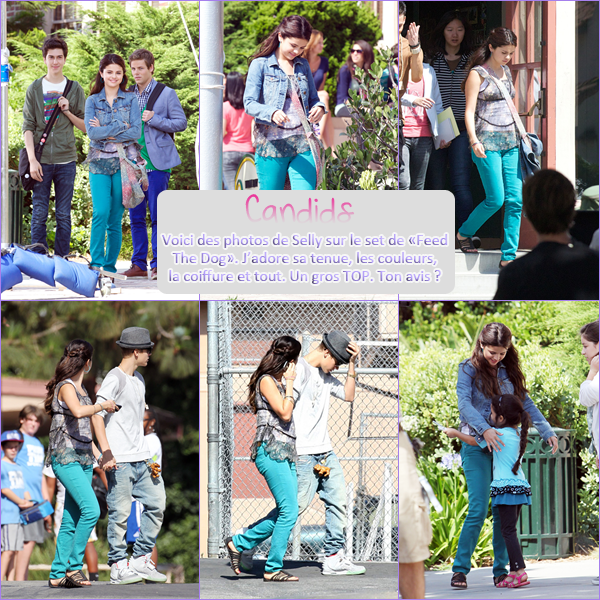 "3 Août 2012 ; Selly sur le set de ""Feed The Dog"" + Nouvelle Photo Twitter / Candids + Photos"