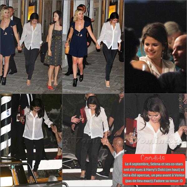 4 septembre 2012 ; Selly arrivant à Venise + le soir (avec ses co-stars) / Candids