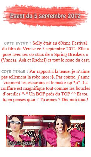 5 septembre 2012 ; Selena et le cast de SB au Festival du Film de Venise + à Venise avec ses amis / Events + Candids