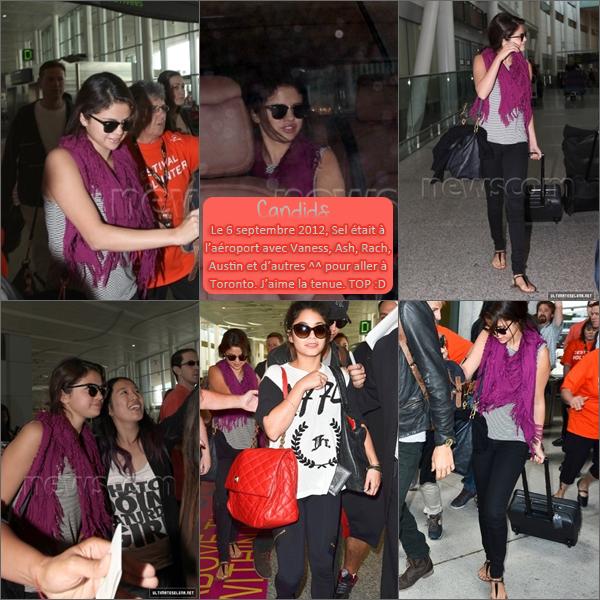 5 & 6 septembre 2012 ; Selena à la Première de SB + et à l'aéroport / Events + Candids