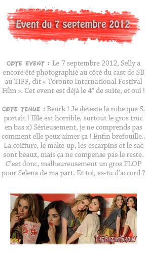 7 septembre 2012 ; Sel au TIFF + à une conference de presse pour HT / Events