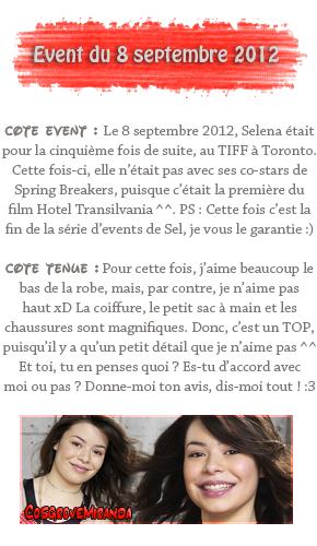"""8 septembre 2012 ; Sel au TIFF + Shoot pour """" Case-Mate """" / Events + Shoots"""