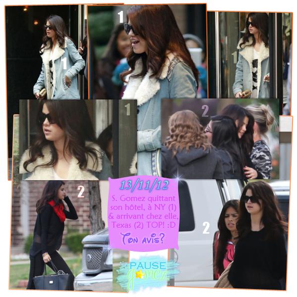 12 & 13 novembre 2012 ; S. aux GWOTYA's 2012, quittant son hôtel (2x) et arrivent chez elle / Candids