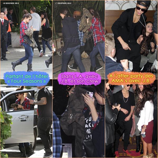 17, 18 & 19 novembre 2012 ; S. dans L.A, partant du FS hôtel, à l'after-party des AMA et allant/partant d'un centre / Candids