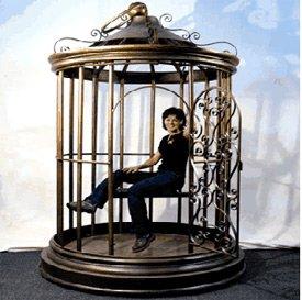 dans une cage dorée