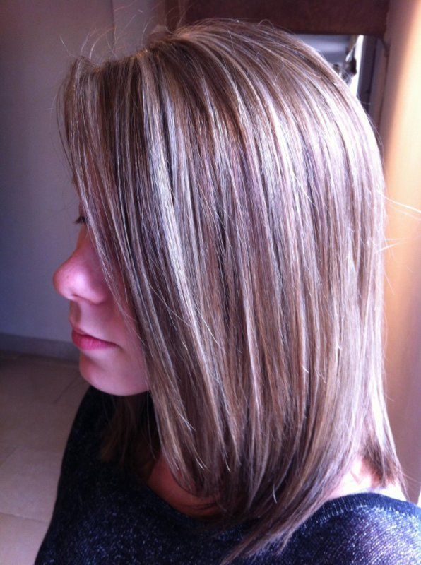 Couleur marron et meche blonde - Meche marron clair ...