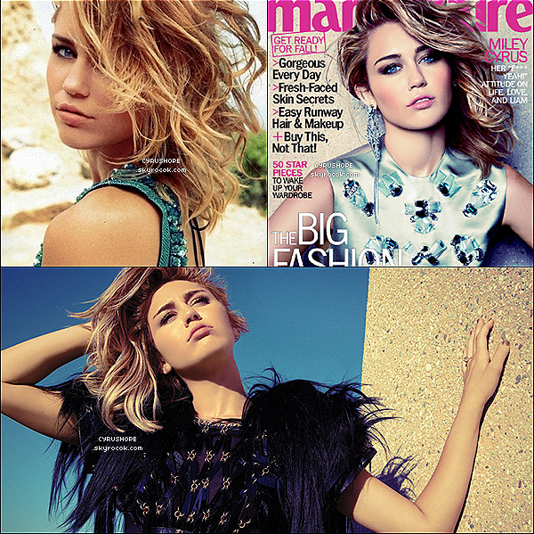 - Découvrez les premières photos du shooting de Miley pour le magazine Marie Claire.-