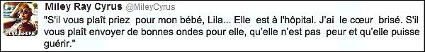 """- Miley C. a publié un tweet a propos de Lila, l'un de ses trois chiens, qui est à l'hôpital.     Miley a de nouveau tweetter il y a quelques heures, voici son tweet: """"En priant pour que puisse récupérer mon bébé Lila à partir de ce soir ! Merci à tous pour votre énergie positive"""". Son chien, Lila, n'aurait donc rien de grave !-"""