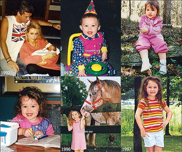 - La belle, Miley Ray Cyrus fête en ce 23 novembre, son 20éme anniversaire !Depuis sa naissance, Miley Ray Cyrus, née Destiny Hope Cyrus, a bien changé ! Comme beaucoup d'entre vous le remarque, Miley s'embellie pour devenir une jeune femme épanouie et pleine de vie ! Ses projets cinématographique et musicaux s'enchaînent, la carrière de la belle est donc au meilleur de sa forme. Miley a également eu la chance de se fiancer avec son compagnon depuis 2009, Liam Hemsworth, lors de cette année 2012 ! Autant vous dire, que pour le bonheur de tous, nous n'avons pas fini d'entendre parler de Miley ! Et, à l'occasion de son 20ème anniversaire, je vous ai fait, via photos, un petit récapitulatif de l'évolution de la rayonnante Miley Ray Cyrus !-