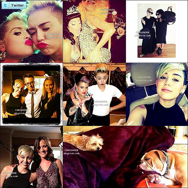 . Découvrez huit nouvelles photos postées sur le réseau Twitter ces derniers jours.-Ces photos ont été postées par Miley elle-même, ainsi que de  nombreux amis ! Comment les trouvez-vous?.