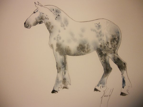 Le percheron de Simon. Aquarelle. 37/45 cm.Octobre 2010