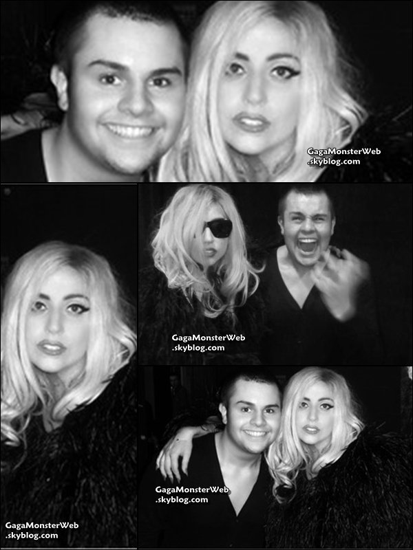 ".   29 octobre 2010 :  Lady Gaga a twittée un photo d'elle avec un fan, a qui elle a fait ecouter en exclusivité son nouveau single ""Born This Way"". Quel veinard ! x) ."