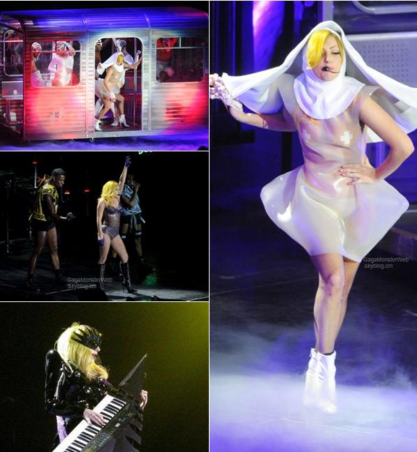 .   16 décembre 2010 :  Lady Gaga toujours dans sa tournée du Monster Ball cette fois ci à  Londres à l'02 Arena..