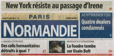 ARTICLE PARIS-NORMANDIE(76)   LUNDI 29 AOÛT 2011