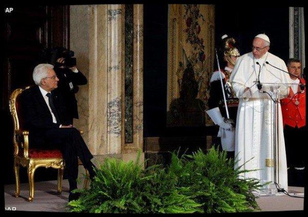 Au Quirinal, le Pape réaffirme le soutien de l'Eglise à l'Italie