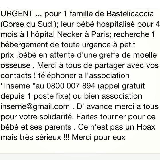 bébé ayant besoin d'un hébergement sur région parisienne pour greffe de moelle osseuse