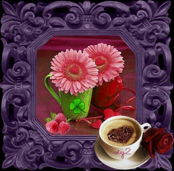 Bon  matin  Arômes de café de l'amour  Et la saveur de chocolat  Vous apporter le bonheur  Et béni jour