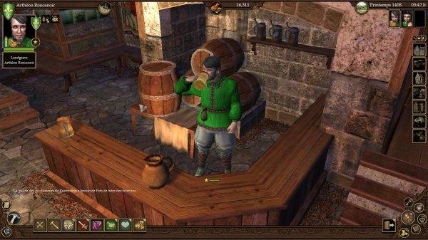 *Attend des clients dans sa taverne.* (The Guild II)