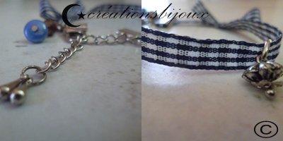 Bracelet ruban bleu.