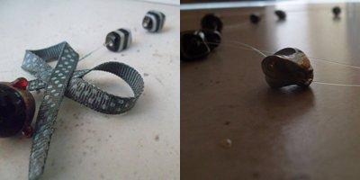 Collier perles n&b+noeud