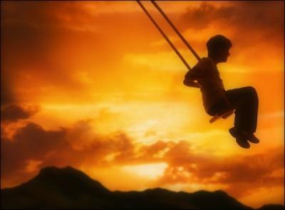 Et le vent fouettait son visage à coup de perles de liberté...Il se balancait au creux du monde...