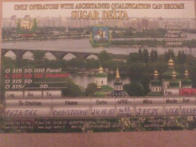 CONFIRMATION QSL AVEC L'UKRAINE (315SD112 VLADIMIR)