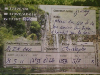 CONFIRMATION QSL AVEC L'ILE DE LA REUNION (173VC002 OPERATEUR JIMMY)