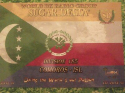 CONFIRMATION QSL AVEC LES COMORES (185SD101 CHEICK)