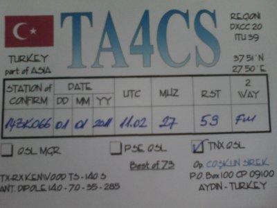 CONFIRMATION QSL AVEC LA TURQUIE (TA4CS)