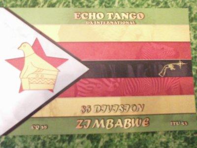 CONFIRMATION QSL AVEC LE ZIMBABWEE (DIVISION 85)