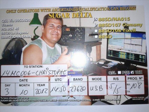 Confirmation QSL avec la station 88SD/NA015 (CUBA)